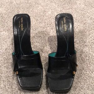 Kate Spade Black leather wedge sandals